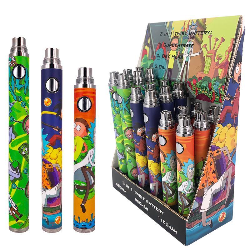 Top quality Vape Cartridge Battery 650mah 900mah 1100mah Rechargeable Preheating Pen Variable Voltage 3.3v-3.6v-3.9v-4.2v Vaporizer e cig