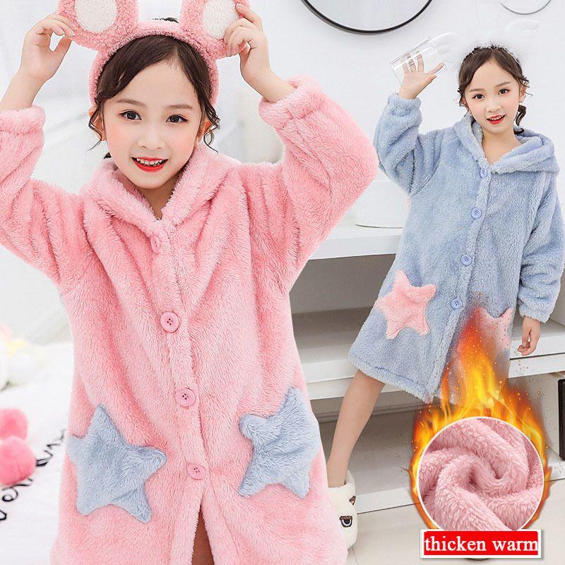 Adolescente pijama chicas noche-túnica túnica de invierno ropa de noche ropa de niño ropa gruesa franela ropa de dormir niños pijamas albornoz 10 12 años 201104