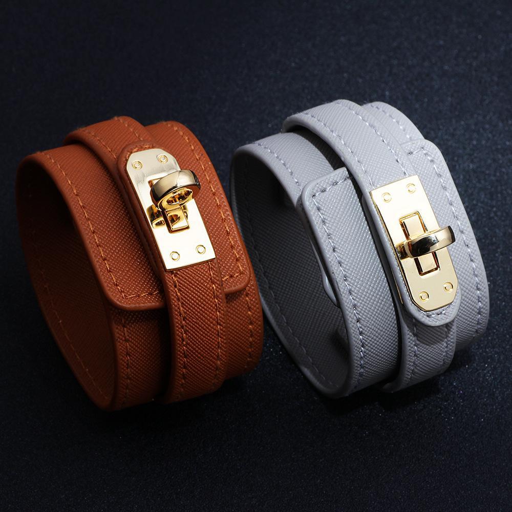New Design Women Wide Bracelet Leather 7 Colors Bangles Alloy Wristband Bracelets Fashion Jewelry Charms Bracelets Gift