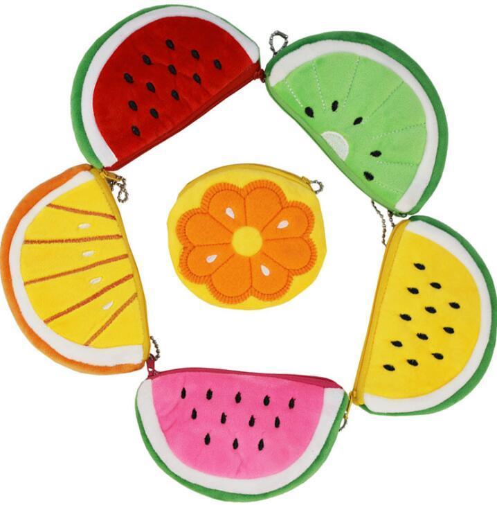 Felpa bolsas de monedas de frutas atermelon Lindos monederos bolsa pequeña bolsa de lápiz portátil estudiante de felpa de los niños monedero