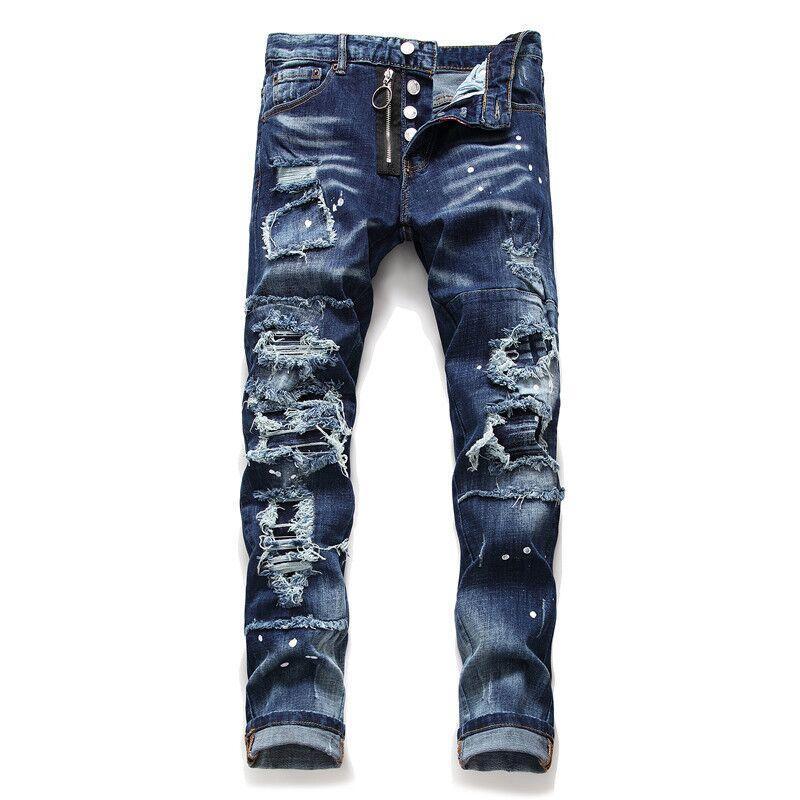 2021 Neue europäische und amerikanische Mode Herren Lässige Jeans, hochwertiges Waschen, reines Handschleifen, Qualitätsoptimierung LT2131