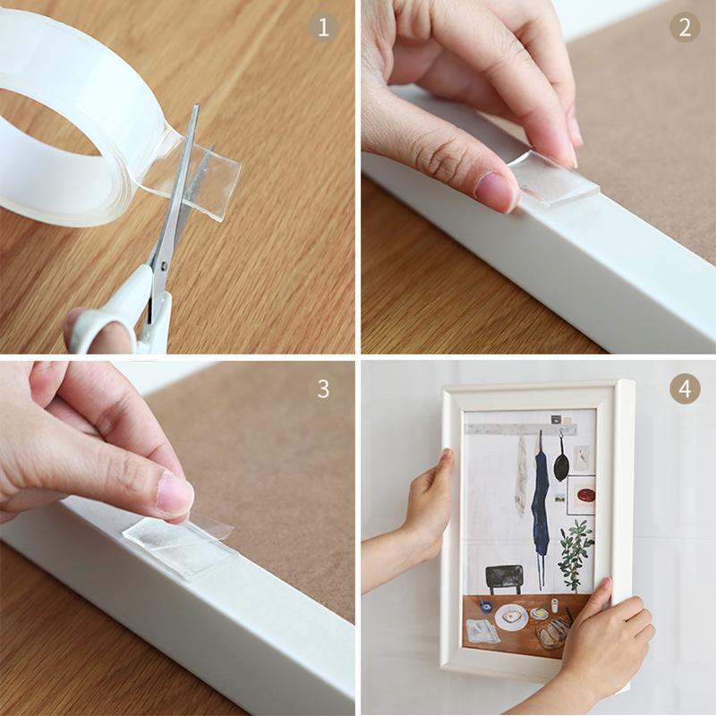 MICCK Transparent Magic Nano-Tape Waschbar Wiederverwendbare doppelseitiges Klebeband Kleber No Trace Pasten Removable Kleber Abreinigbare Haushalt