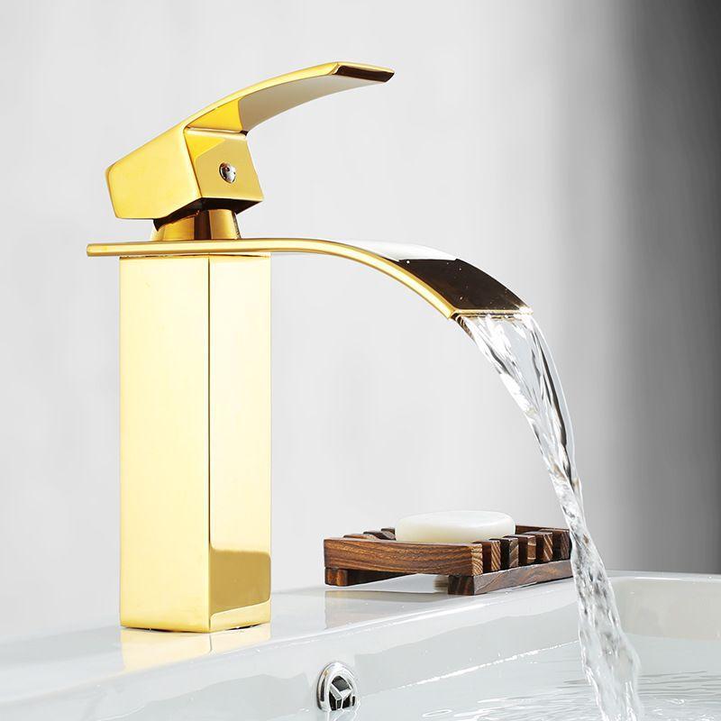 Livraison gratuite Chute d'eau contemporaine salle de bains lavabo évier Robinet d'or PVD