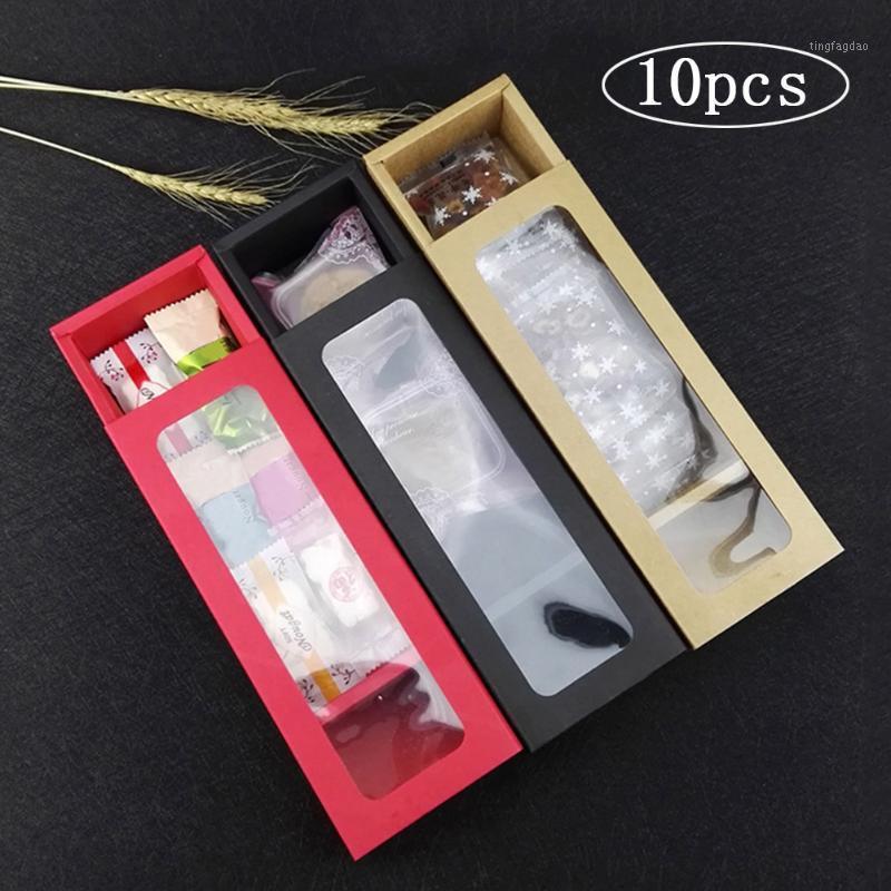 Paquete de caja de regalo de papel 10pcs con ventana transparente de PVC Swiss Roll Papel Caja de pastel largo Torta Cajas de postre Clear Baking Packaging1
