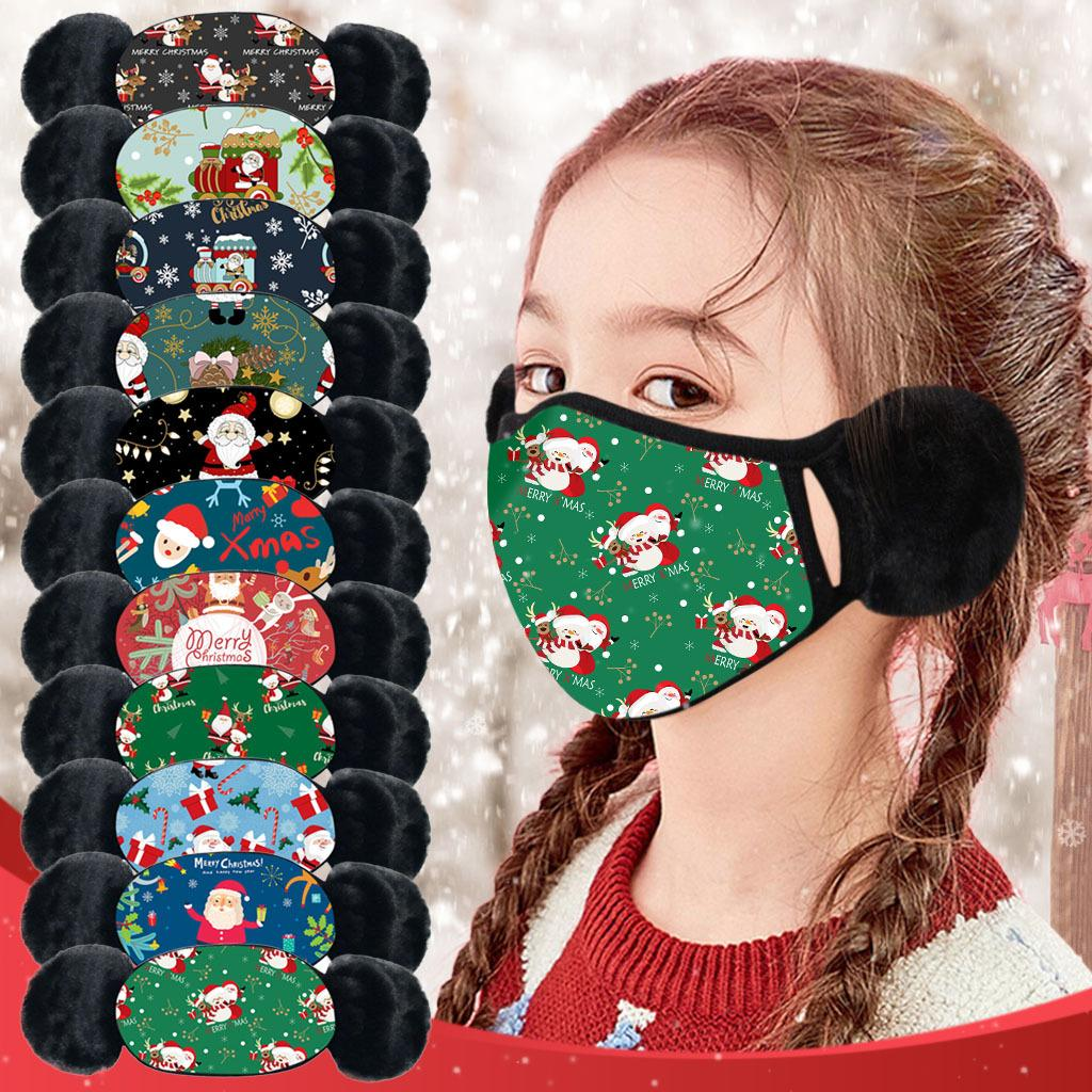 Creativity Children's Christmas Masks Winter Ear Warmers Christmas Print Masks Dust-proof Cold-proof Winter Thickened Ski Masks