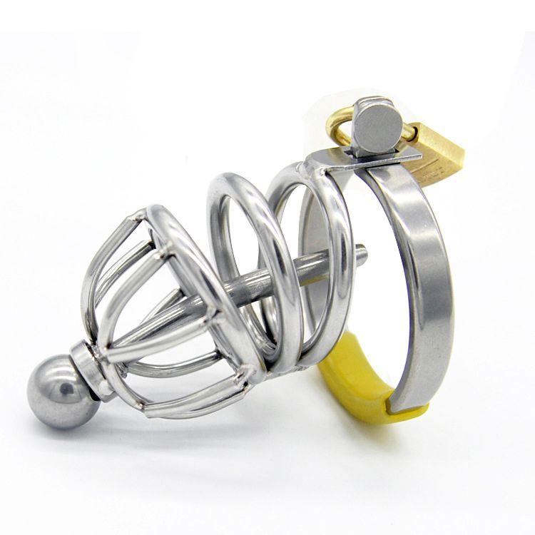 Cock Cage en acier inoxydable Male Chastity Penis Ring avec dispositif de verrouillage épais Catheter Bondage BDSM Sex Toys pour Hommes