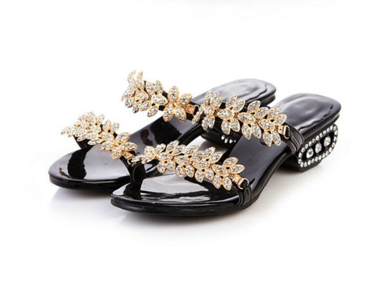 The designer summer 2021 cool leather slippers and sandals in diamond cross-border foreign trade women's shoes holiday gifts006