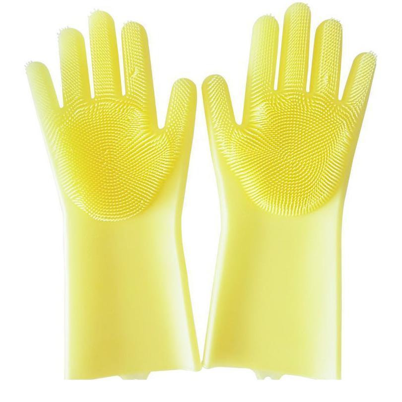 1Pair Magic Sile Nettoyage Gants de nettoyage avec brosses Cuisine Gants à vaisselle ménage pour lave-vaisselle Caoutchouc SPONG SQCIQR