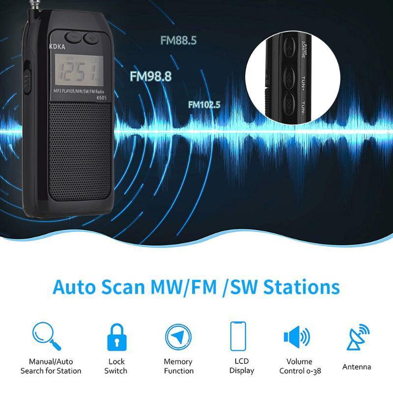 Radio antena do receptor de bolso Rádio Backlight FM MW SW TF antena do receptor multifuncional
