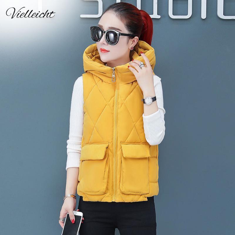 Vielleicht otoño invierno 2020 mujeres del chaleco chaleco sin mangas Mujer chaqueta con capucha caliente Chaleco, Outwear Colete Femenino