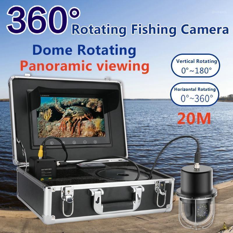 10 '' Videocamera da pesca sott'acqua Videocamera Finder Pesca IP68 Impermeabile 20 LED a 360 gradi Cupola rotante a cupola rotante Visione panoramica Cam1