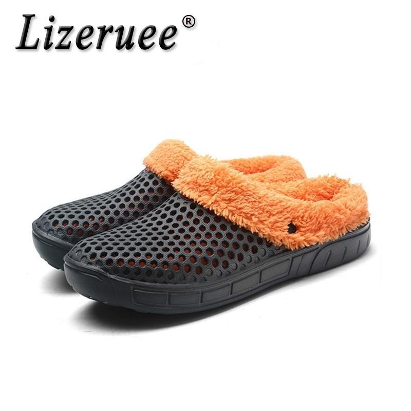 Lizeruee повседневные засорения Crocus с меховой зимней обувь для мужчин мягкие плюшевые тапочки флис подкладка домашнего пола теплые тапочки мужские туфли Y200520