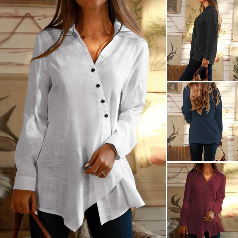 Plus Size Button Botão Camisetas Blusa Assimétrica das Mulheres 2020 Zanzea Botão de Manga Longa Casual Blusas Feminino V Pescoço Túbica Top1