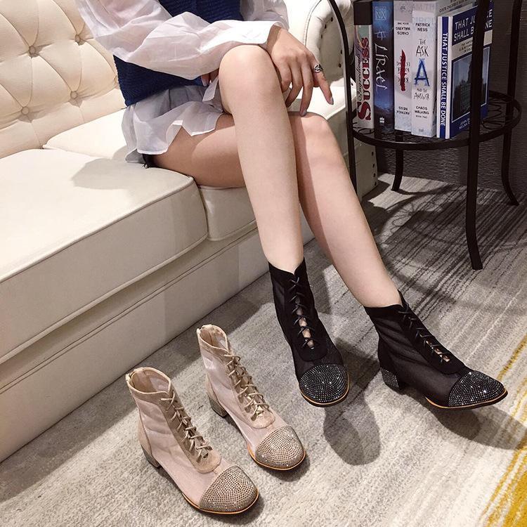 Бренд Женская Обувь Молния Резиновые Сапоги Сапоги Женщины Круглый Носок Кристалл Мода Дождь Дамы Лодыжка 2021 Мед Горный Хортона