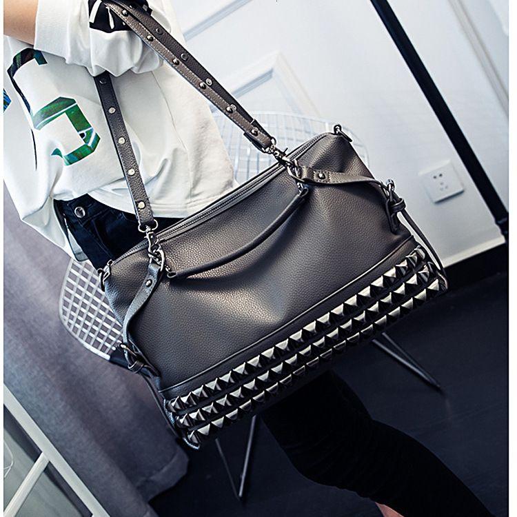 Branch Pattern European Women Pu New Fashion Large Capacity Rivet Shoulder Diagonal Handbag Punk Bag