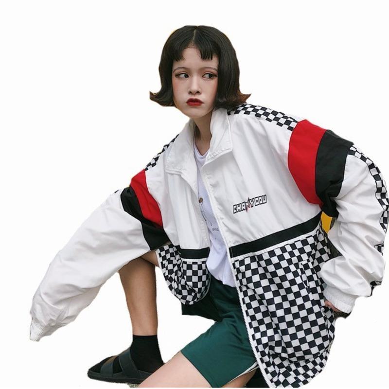 # 5601 Escudo protector solar de verano rompevientos Las mujeres de Corea Moda Delgado Escuela de Harajuku Béisbol Hip Hop chaqueta Streetwear C1105