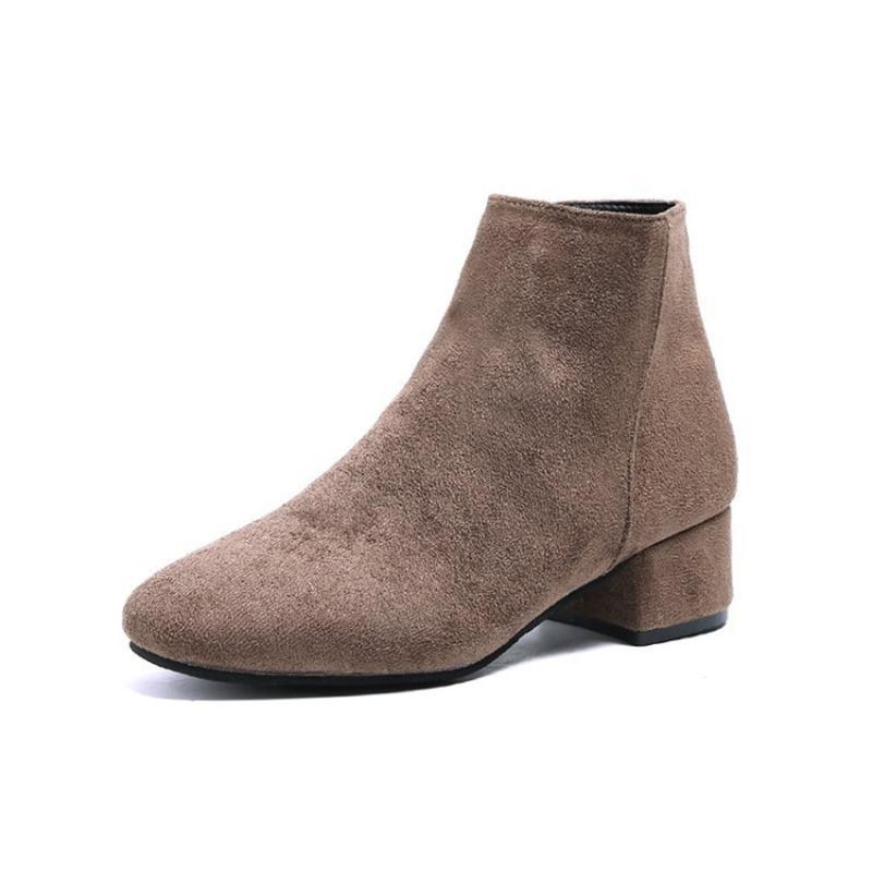 Bayan Ayakkabıları Yeni Süet Yan Fermuar Moda Çizmeler Yumuşak Tabanlar Rahat Kaymaz Midheel Ayakkabı