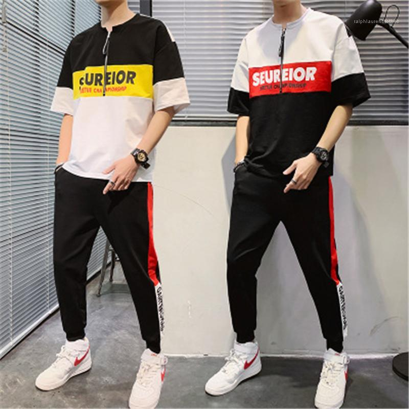Male Casual Loose Two Piece Tracksuits Man Short Sleeve Casual Sets Fashion Korean Version Zipper Round Neck Tops Trousers Suits Designer