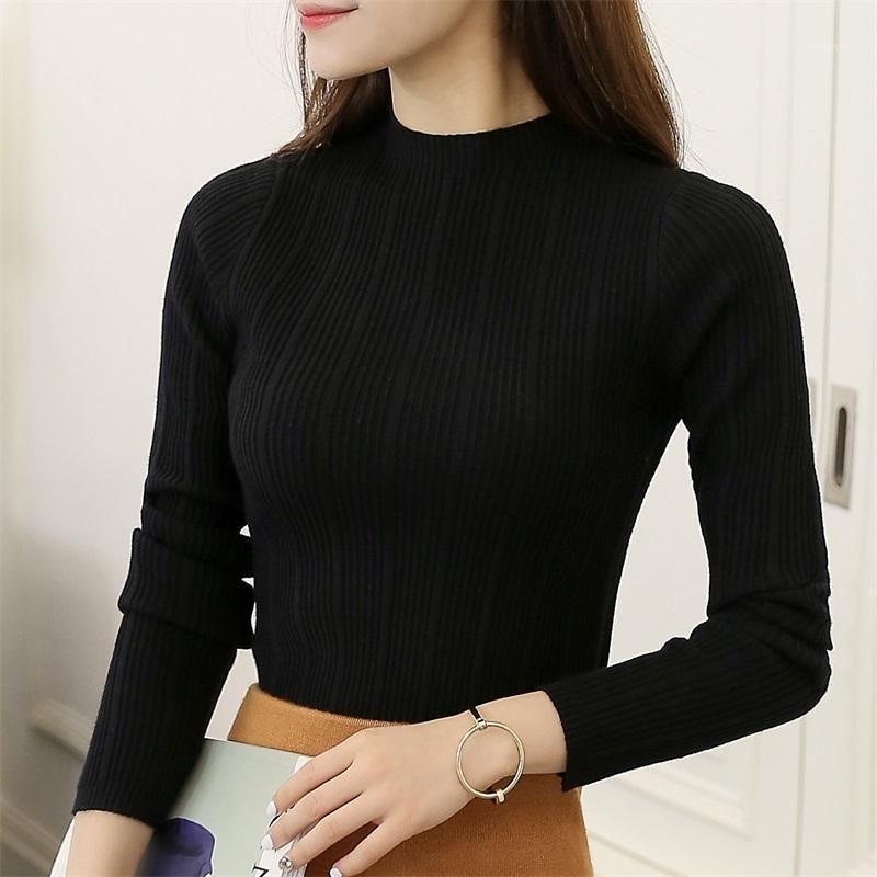 Женские свитеры 2021 зимний эластичный с длинным рукавом женщин тонкий свитер дна дамы половина водолазки полосатый пуловер Tops1