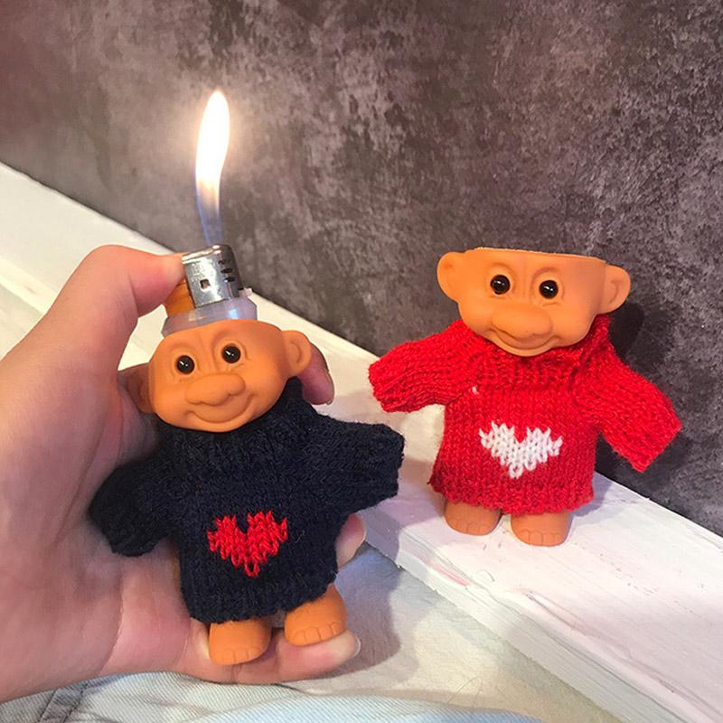 DIY Caoutchouc Doll Briquet Briquet pour Clipper Bic briquet drôle mignon Trolldroll Armure Block Coquille Cover Protection de la Saint-Valentin de Noël Valentine
