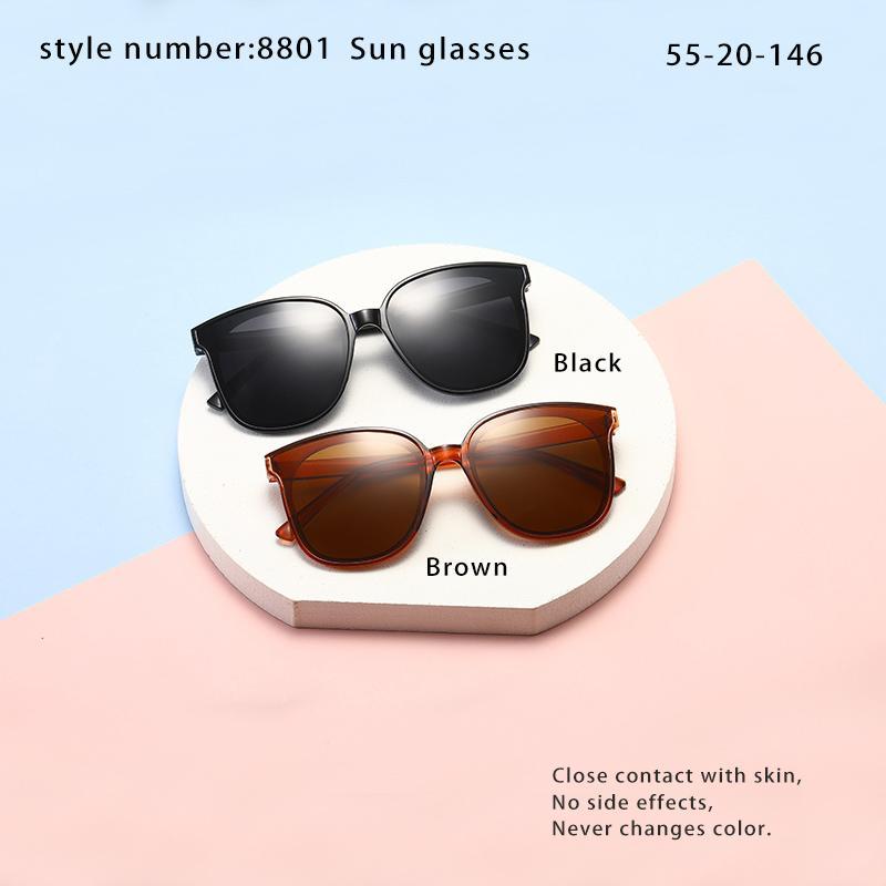 Gafas de sol de moda Hermosas gafas de sol 8801 UV380 Anti-UV cerca de la piel cómoda para desgastar ningún efecto secundario Sin decoloración