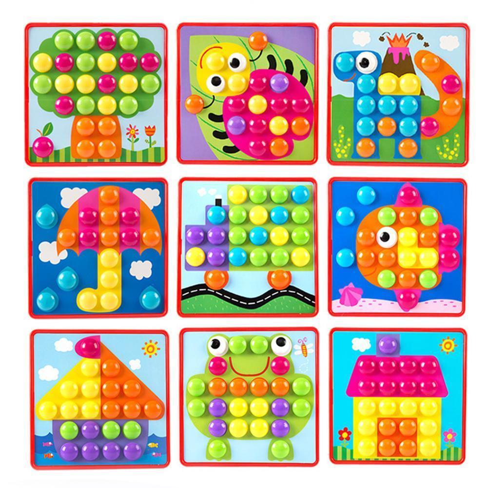 tridimensionale giocattolo puzzle borsa assemblaggio pulsante del colore dei funghi delle unghie infantile composito mosaico di immagini di puzzle formazione consultazione per bambini
