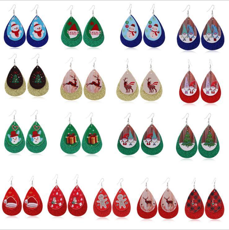 أقراط عيد الميلاد جلدية مزدوجة بلينغ إسقاط أقراط ثلج إلك مطبوعة المرأة القرط مجوهرات اكسسوارات الأزياء 17 تصاميم BT806