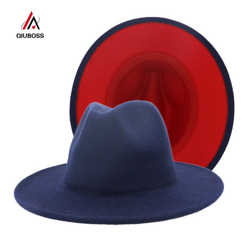 Breite Krempe Hüte Britisch Stil Navy Blau Rot Patchwork Filz Jazz Hut Kappe Männer Frauen Flache Wolle Mischung Fedora Panama Trilby Vintage
