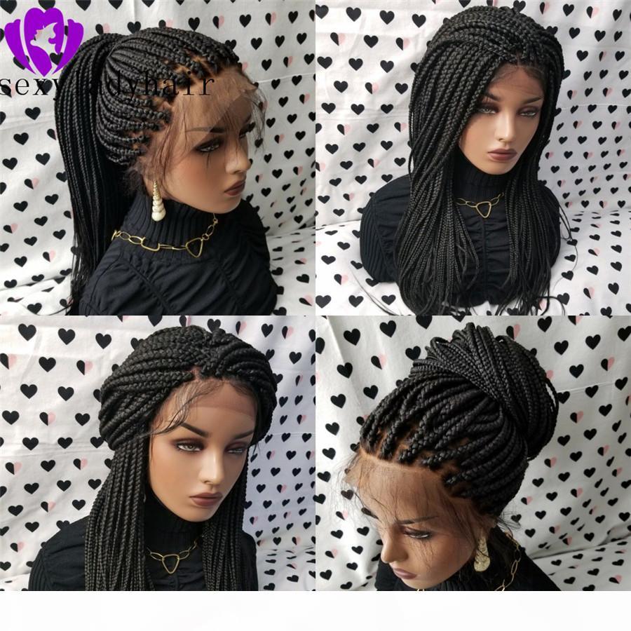Новое Прибытие Африки Женщины плетеные Волосы Черные плетеные Коробки Корики Парик с Детские Волосы Плетеные Парики Натуральная Стрижка Синтетическая Кружева Передний Парик