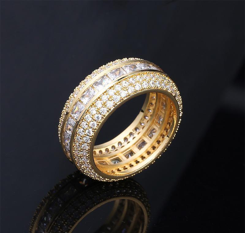 موضة جديدة 18 كيلو الذهب الأبيض الذهب طباشير تشيكوسلوفاكيا مكعب زركونيا مجموعة كاملة فنجر الفرقة الدائري الفاخرة الهيب هوب الماس مجوهرات الدائري للرجال WMTPI