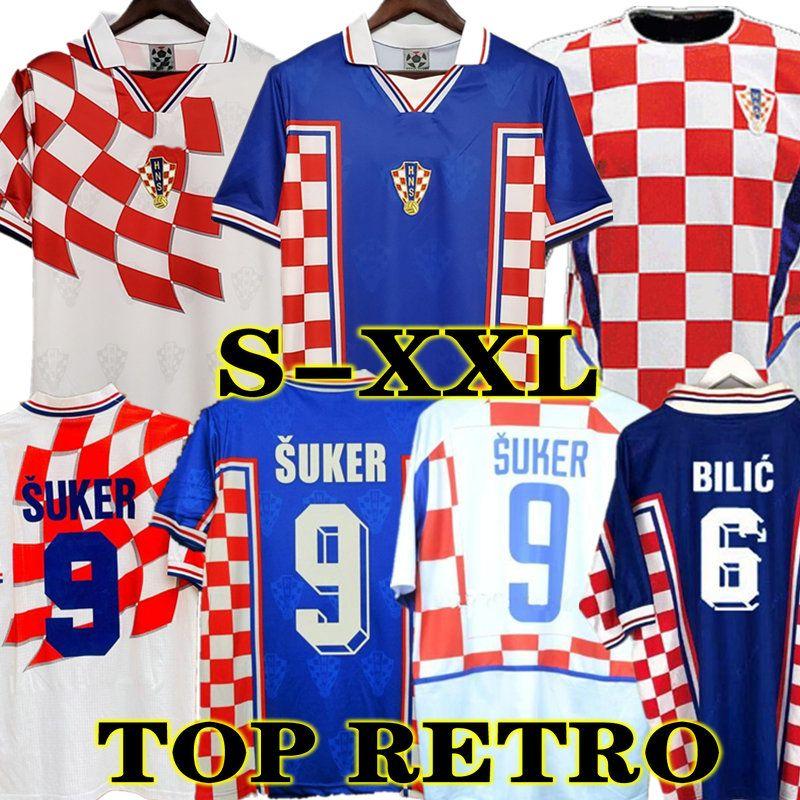 Retro 1998 Croatia Suker Jersey Soccer Home Football Jersey Shirts 2002 Kroatien Stanic Prosincki Boban Bilic Jarni