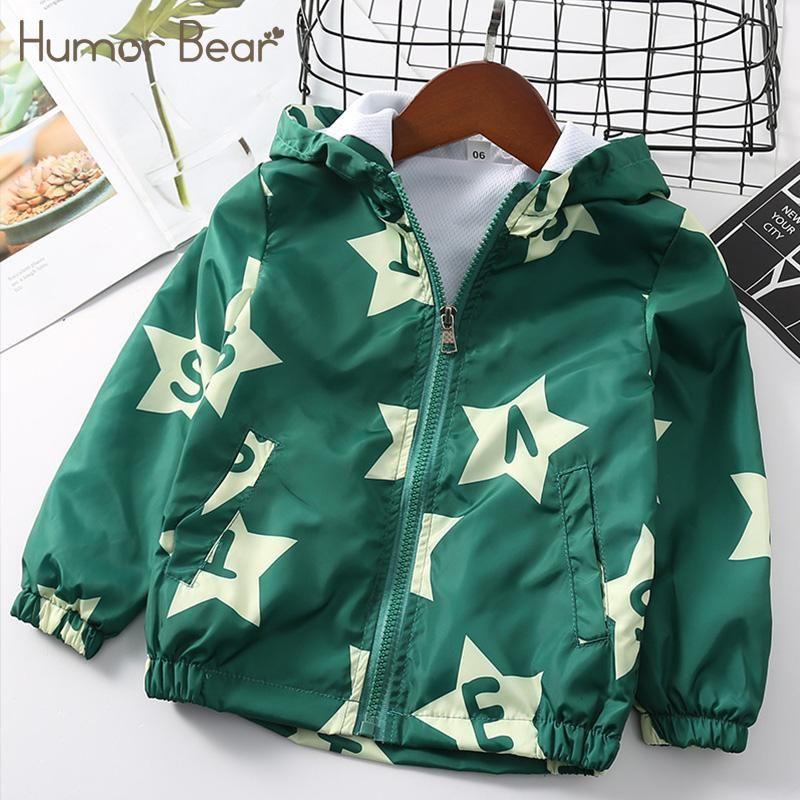 Humor Bear Hooded Zipper Jacket Clothes Fashion Outdoor Children Autumn& Winter Cartoon Star Letter Baby Boys Shirt Clothing