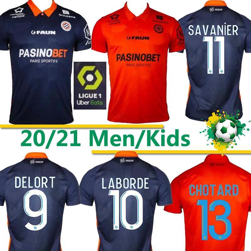 Montpellier HSC NOUVEAU LABORDE football DELORT maillot de pied MAVIDIDI MOLLET Savanier Congre Hommes football chemises Uniformes 2020 2021