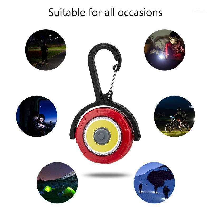 COB Mini Keychain Portable Flash Lights Pocket Torch Light 4 Modes Rotation Emergency Camping Light1