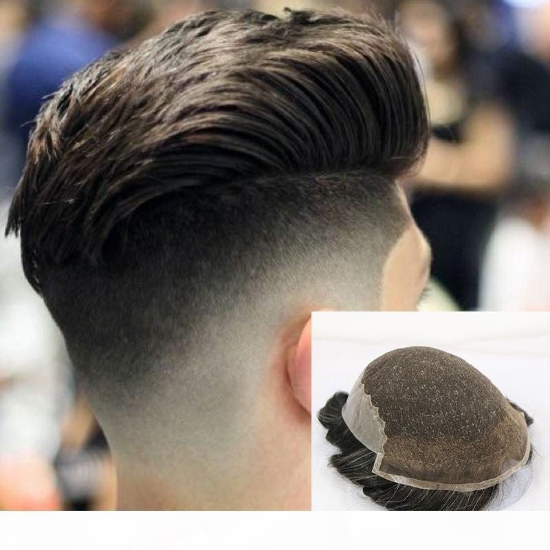 Q6 Base Peruk French Lace With Skin Back Men Toupee Vario Color Remy Human Hair Mens Hair Replacemen system hairpieces