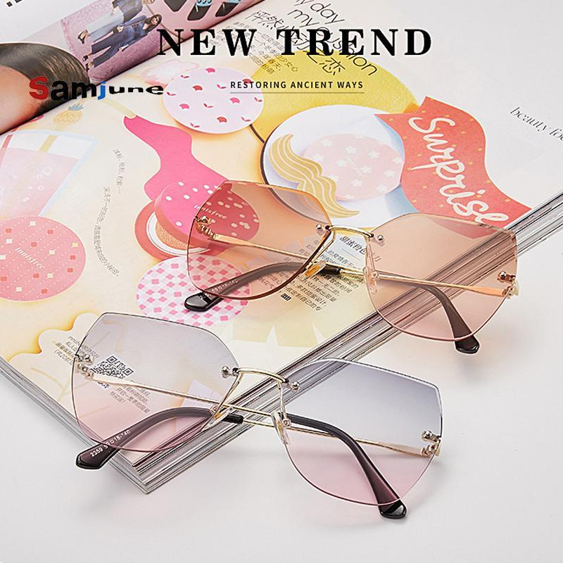 Samjune Weibliche rahmenlose Sonnenbrille Übergroße Brille für Frauen Marke Designer Shades Sonnenbrille