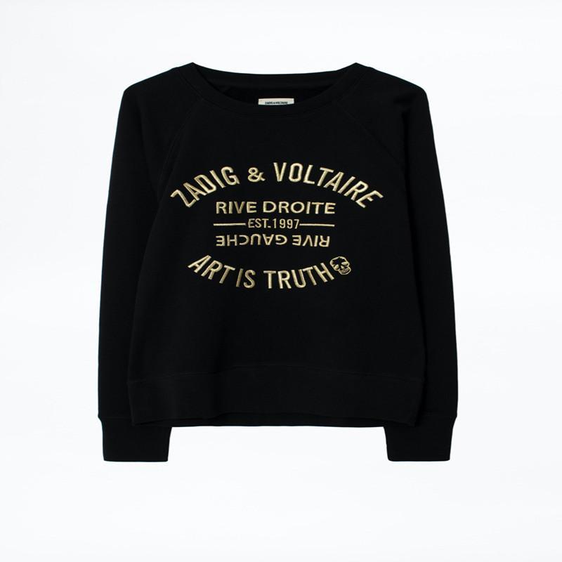 2020 Новый Autum и зима Женщина Толстовка Нового письмо вышивка вокруг шеи пуловер Толстовки Моды черного Wiomen толстовка