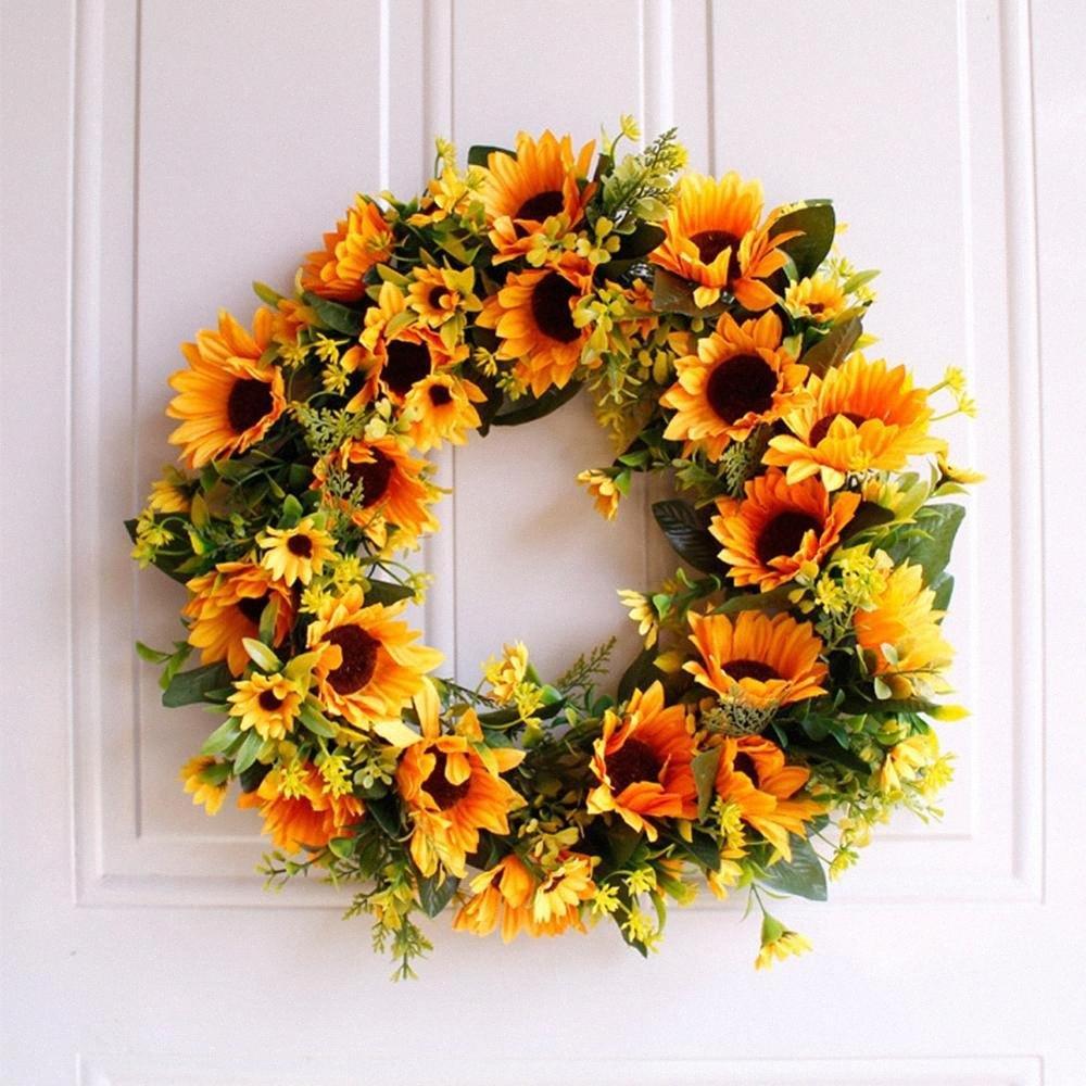 """16"""" coroa de flores artificiais de girassol grinalda grinaldas verão Flor porta para porta da frente com Folhas Verdes Primavera 9eMb #"""
