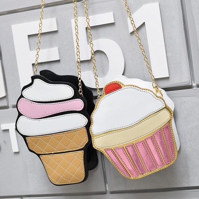 Cross corbeau tamara mignon crème glacée cupcake femme sac PU cuir petit chaîne embrayage girl messager bandoulière sacs sacs sacs sacs à main sacs à main