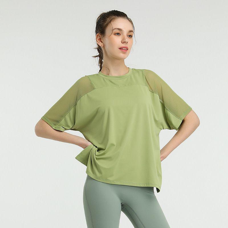 قميص المرأة قمم مصمم الملابس الملابس الرياضية اليوغا روبا دي موهير الصيف الربع الأكمام تشغيل اللياقة البدنية سترة تنفس