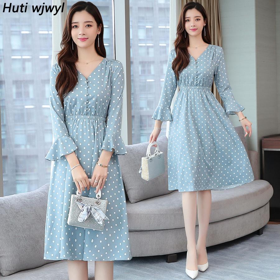 Vintage azul ponto chiffon manga comprida midi vestidos outono inverno chique plus size mulheres bodycon vestido elegante partido vestidos 201126