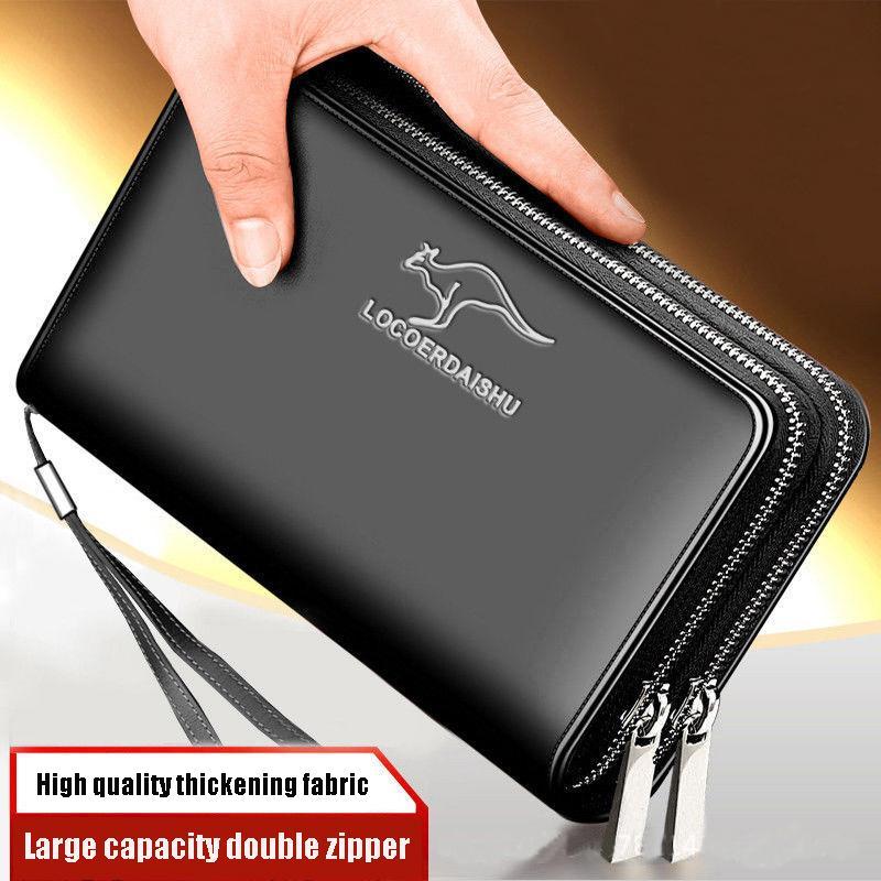 men's leather wallet Large Capacity billeteras para hombre Double Zipper Men Clutch Bag portafoglio uomo Male Business Q1106