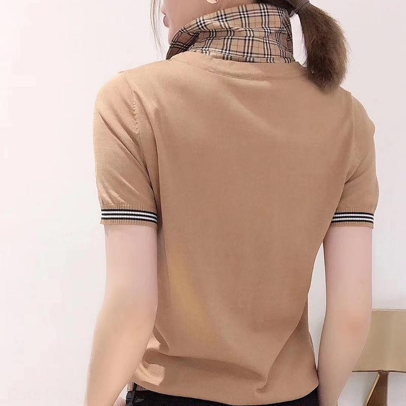 fQPLv britisches Frühjahr Pullover 2020 neue Art und Weise Kragenhemd klassisch Plaid gestrickte Sommerpullover K pulloverT-Shirt Art und Weise beiläufiger oben pullov