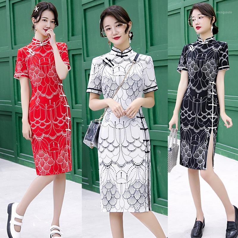 Этническая одежда хлопчатобумажная льняная женская традиционная китайская Cheongsam платья Vestido напечатанный стенд воротник с коротким рукавом qipao платье плюс s