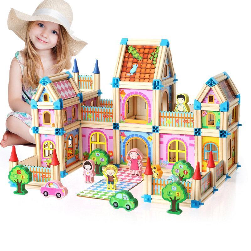 DIY деревянные кукольные домики дети собирают семейные кукольные домики замка игрушки с автомобилем красочные кукла Casa Doll Дома деревянные игрушки для детей подарки Y200704