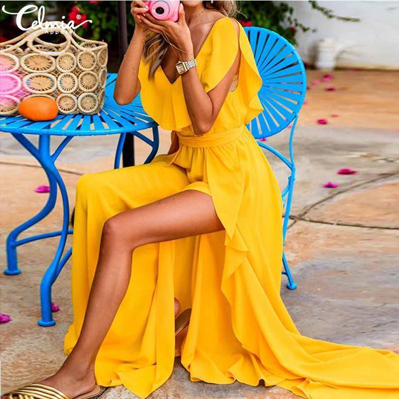 Celmia 2020 Yaz Bohemian Ruffles Uzun Elbise Kadınlar V yaka Kolsuz Kemer Yüksek Bölünmüş Seksi Elbise Maxi vestidos Robe Artı boyutu