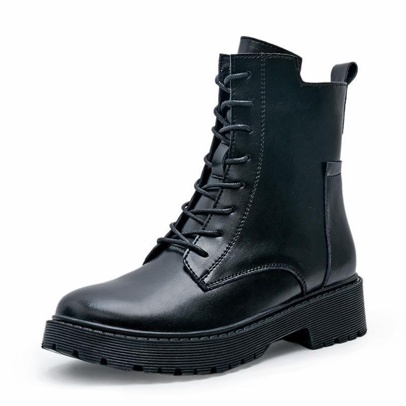 Outono Mulher Botas 2020 sapatos de plataforma de couro genuíno Botas femininas Mulheres Sapatinho Chaussure Femme Black Shoes Mulher