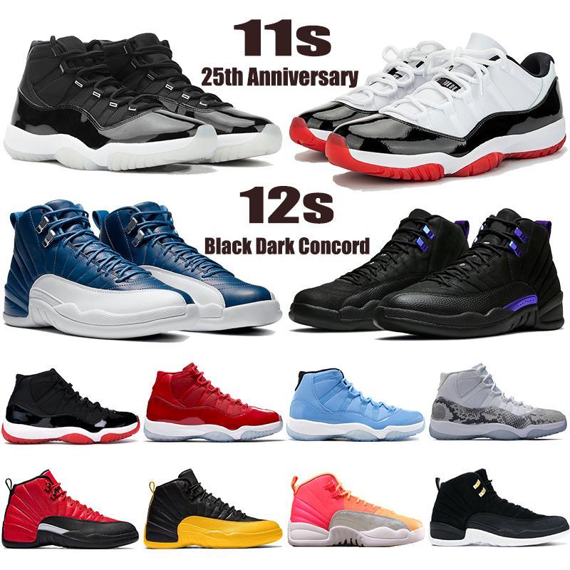Yeni 11 11 S 25. Yıldönümü Düşük Beyaz Bred Jumpman Erkekler Basketbol Ayakkabıları 12 12 S Siyah Karanlık Concord Indigo Erkek Kadın Sneakers Eğitmenler