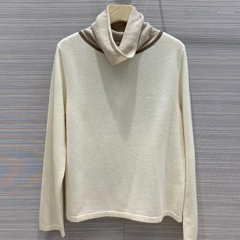 Женщины Элегантный вязаный свитер Осенняя водолазка с длинным рукавом пуловер женская мода кашемировый твердый свитер1