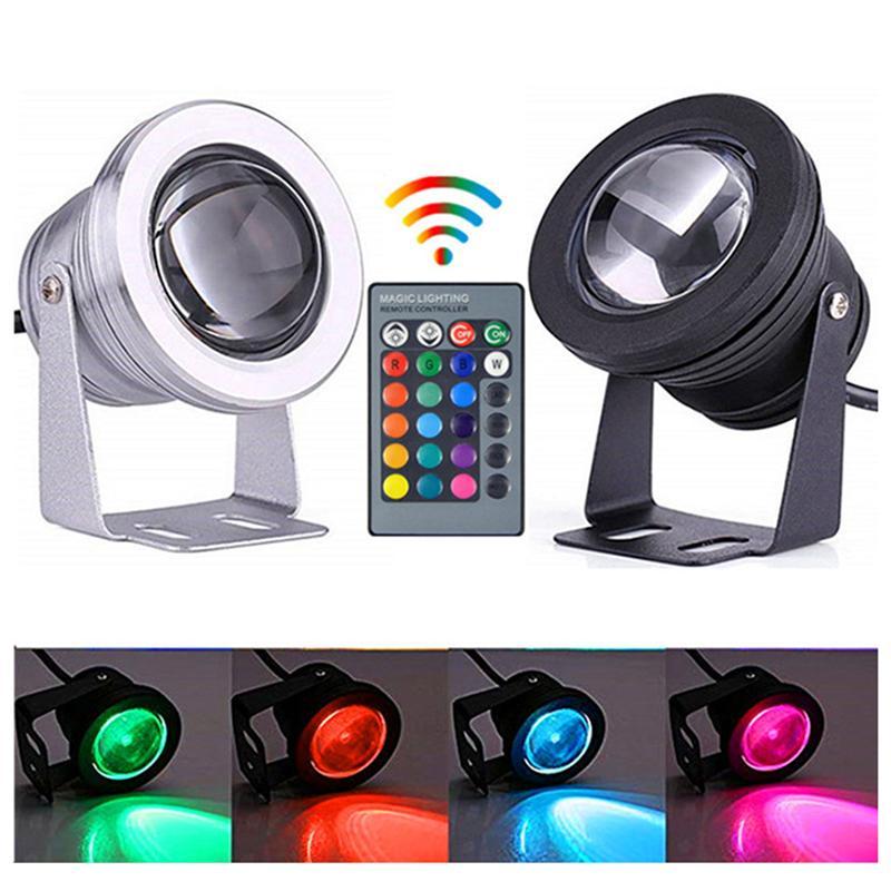アルミ調節可能なRGB LEDの水中ライト10W 12 V水族館の噴水プールライトIP68リモートコントローラーで防水IP68